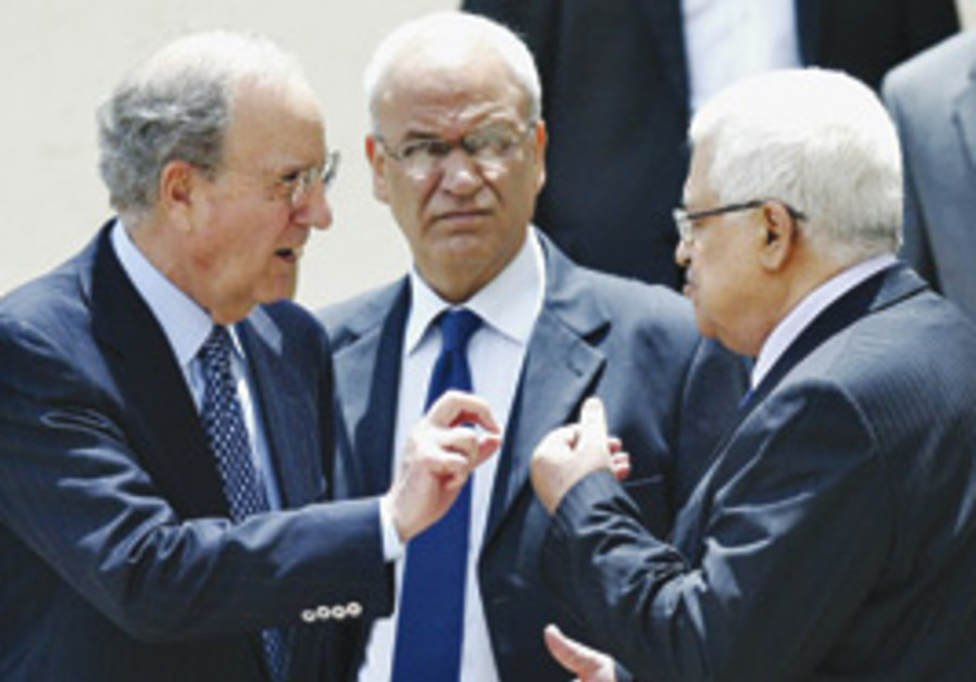 George Mitchell and Mahmoud Abbas