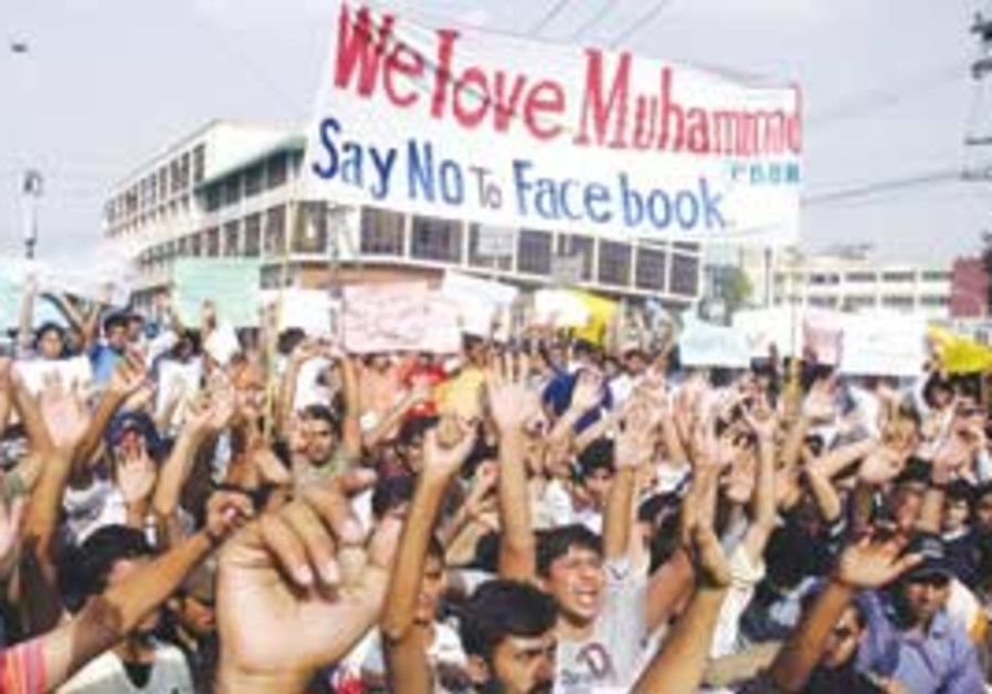 "students protesting ""everybody draw mohammed day"""