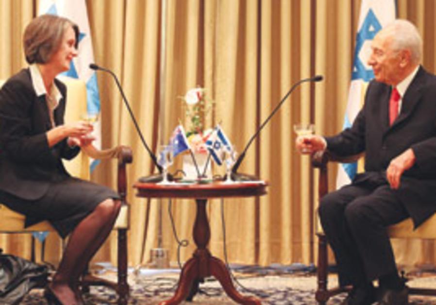 Andrea Faulkner and Shimon Peres
