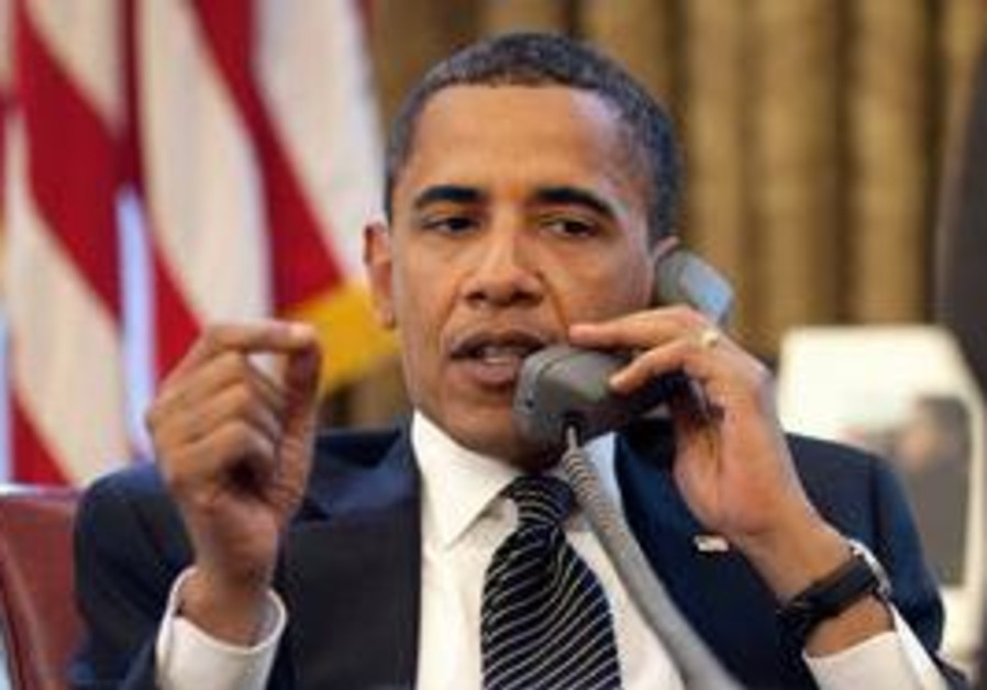 Obama talking to Netanyahu on the phone
