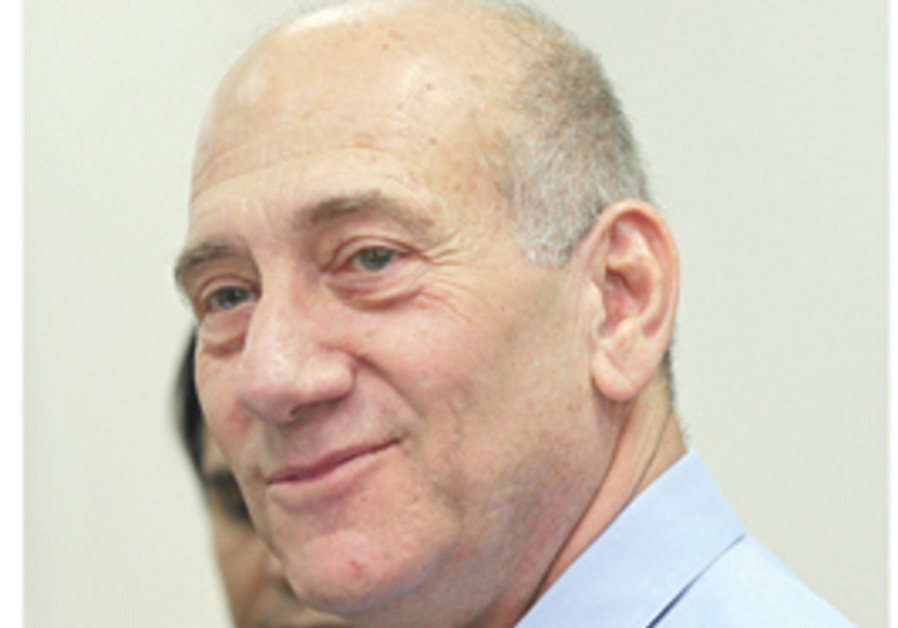 Olmert, smug, with white on the sides