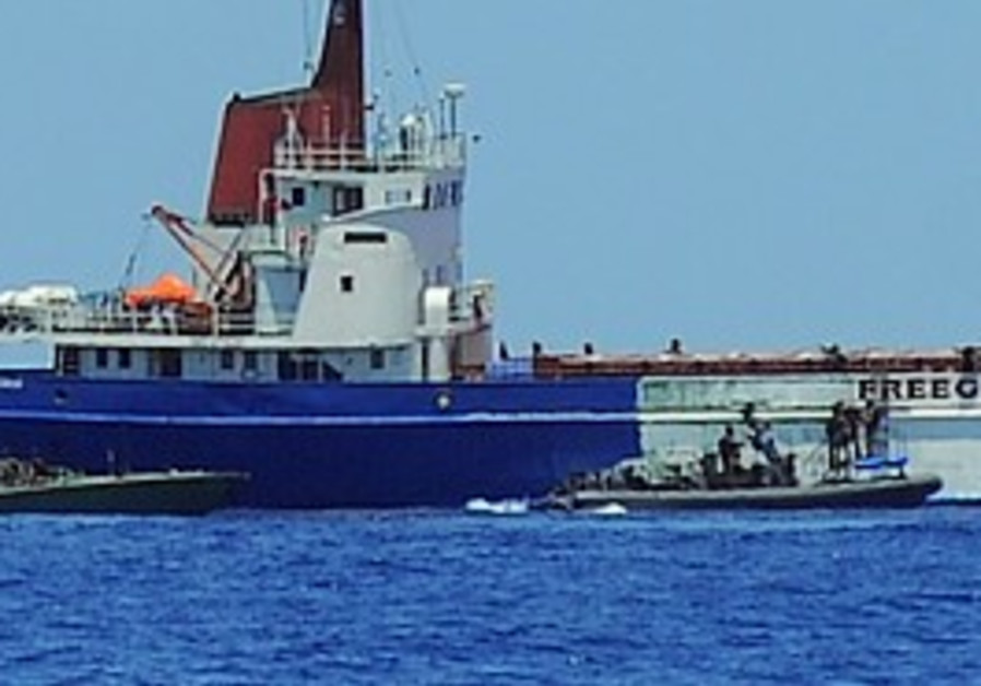 The MV Rachel Corrie is boarded by the navy