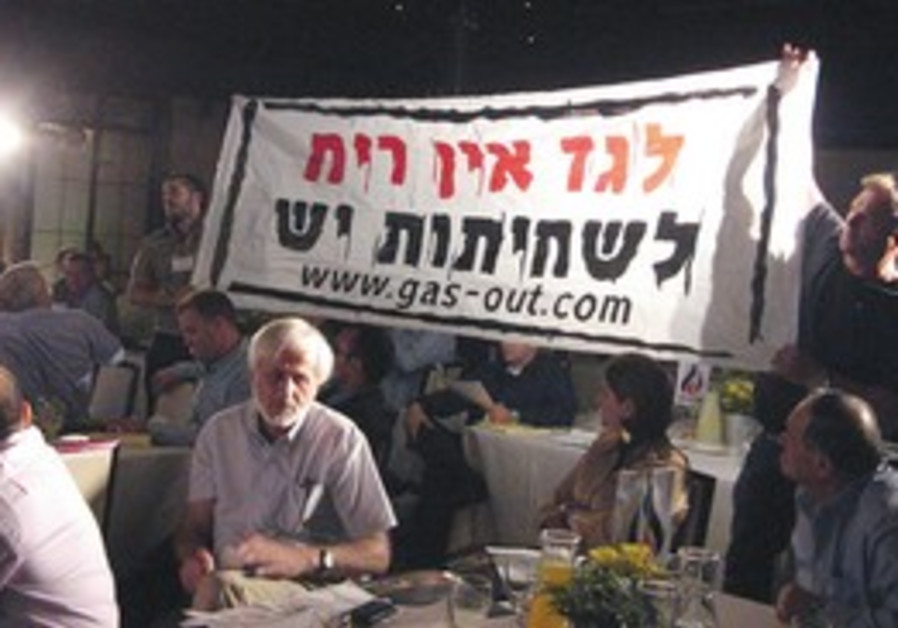 PROTESTERS HOLD up a banner reading 'Gas has no sm