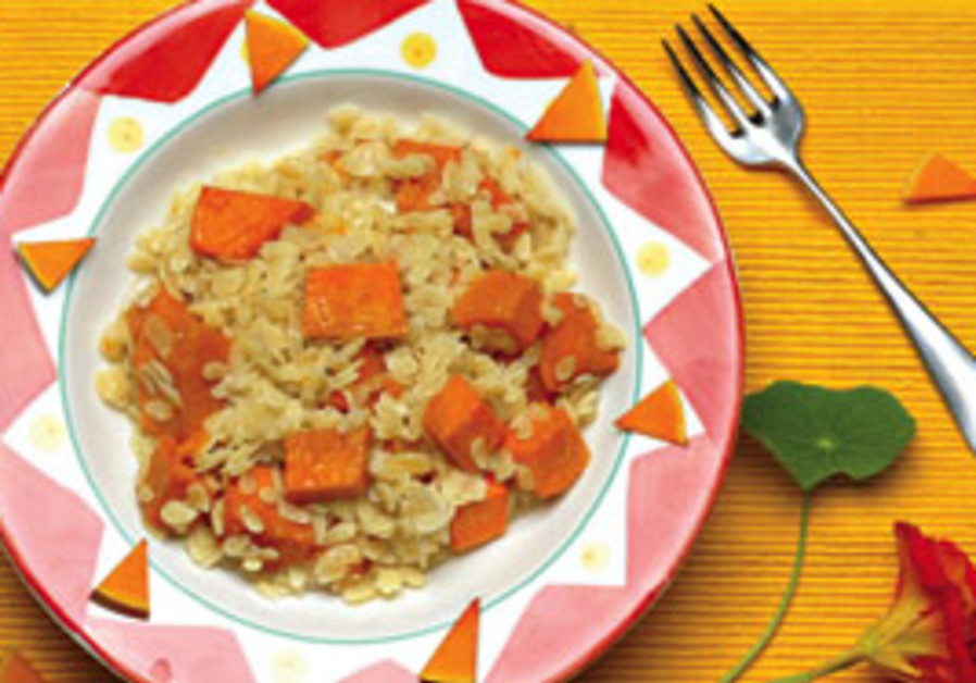 ORZO PASTA with butternut squash.