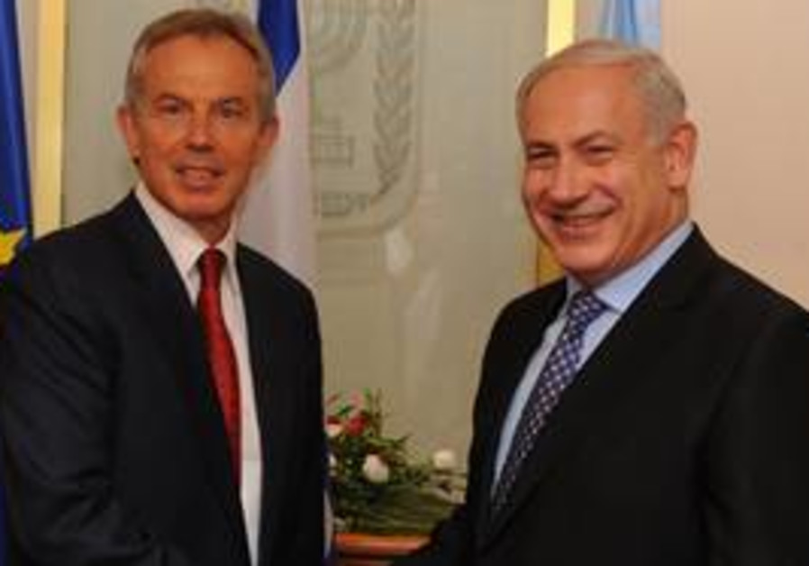 tony blair and binyamin netanyahu discuss easing G