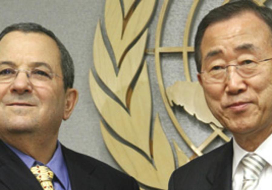 File photo: Defense Minister Ehud Barak with UN SECRETARY-GENERAL Ban Ki-moon