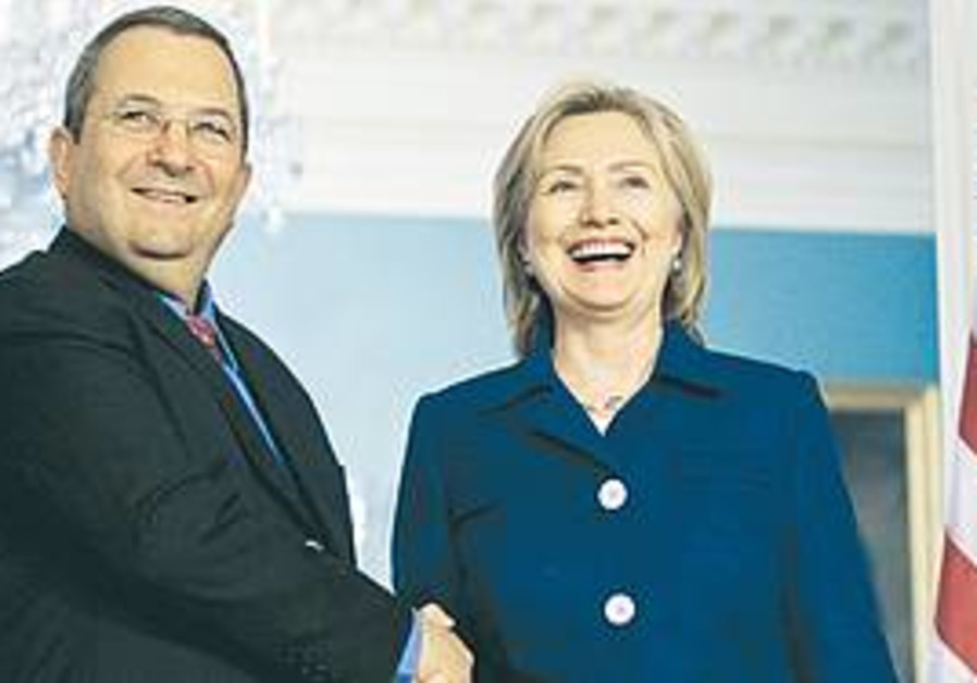 DEFENSE MINISTER Ehud Barak meets with Secretary o