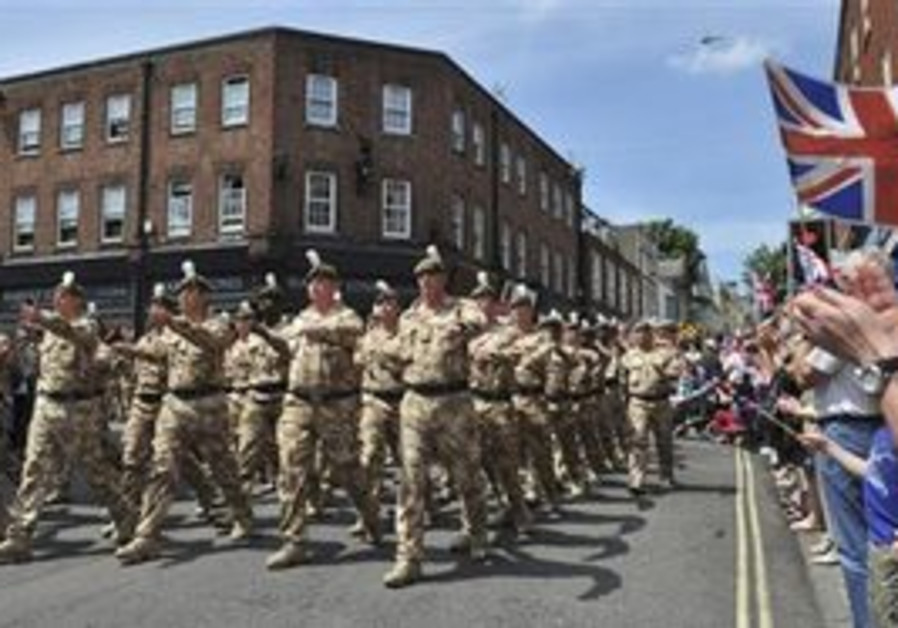 British soldiers marching