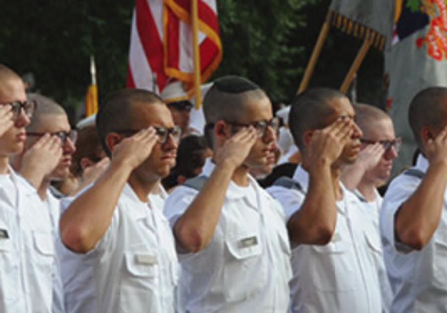 Tsvi Mark (center with kippa) at West Point.