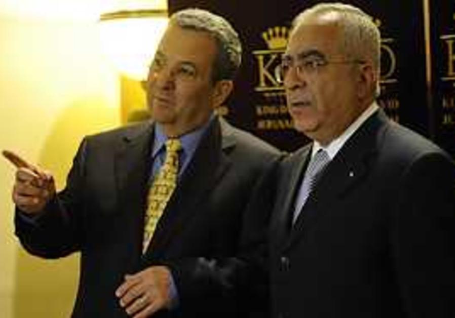 Defense Minister Ehud Barak meets with PA Prime Mi