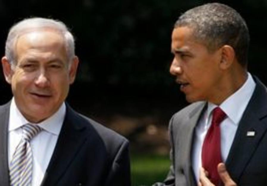 President Barack Obama walk with Israeli Prime Min