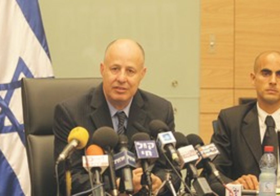 MK TZAHI Hanegbi speaks at a press conference yest