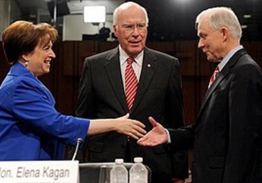Elena Kagan shakes  Sen. Jeff Sessions, R-Ala. 's hand