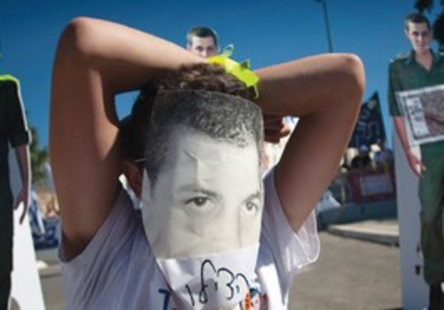 A PROTEST, calling for the release of captured IDF soldier Gilad Schalit, outside the Prime Minister