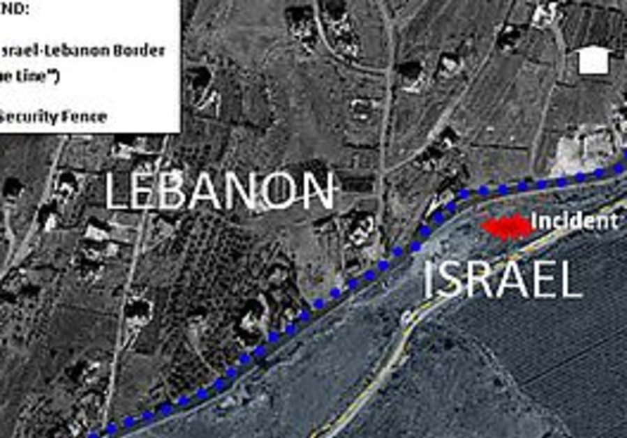 This map reflects the exact location of the incident, just north of the Israeli town of Misgav-Am in