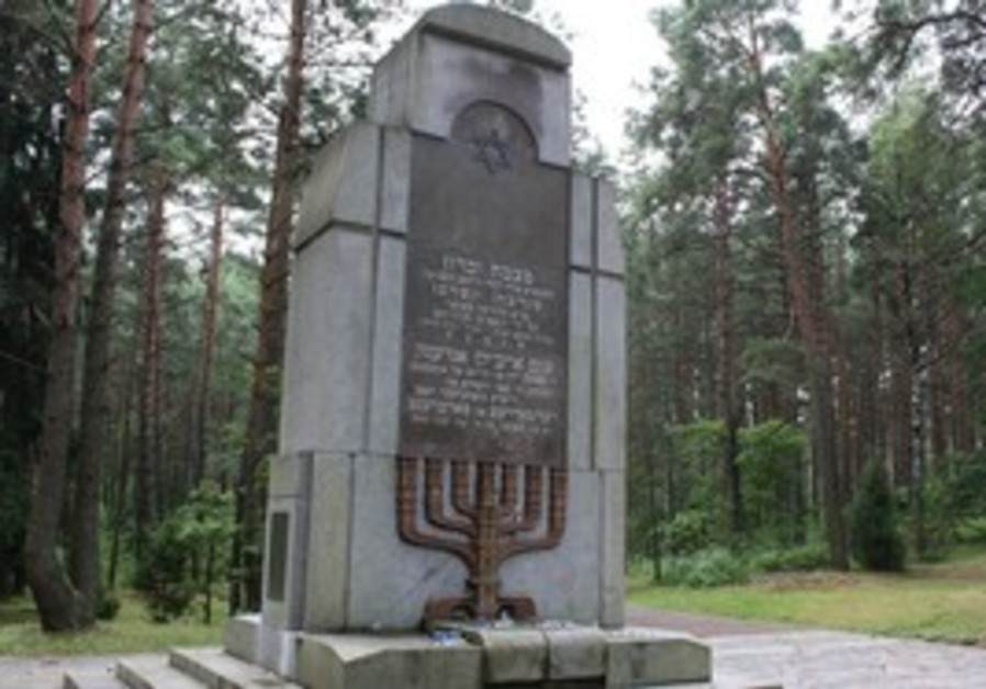 MONUMENT ERECTED at Paneriai to commemorate the 70,000 Jews killed at the site between 1941 and 1944