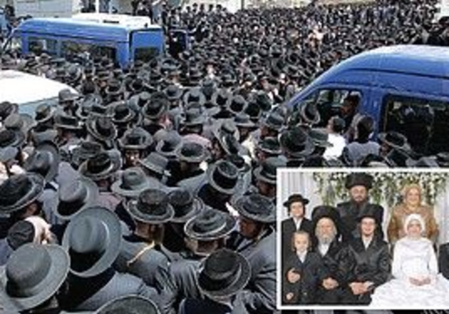 PEOPLE GATHER for the eulogies in Mea She'arim on Friday. Inset: Members of the Bernstein-Gotstein f