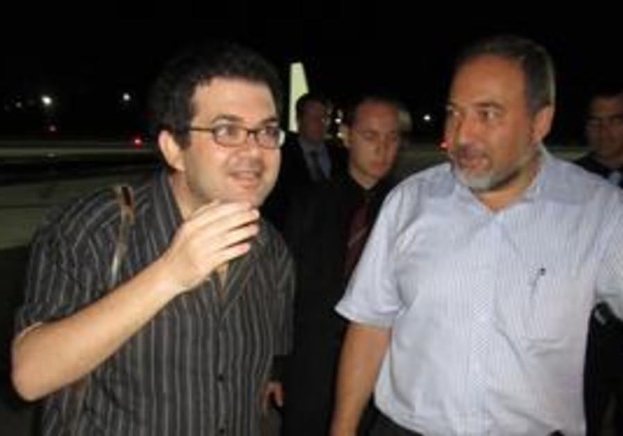 Foreign Minister Avigdor Lieberman with Yisrael Hadada.