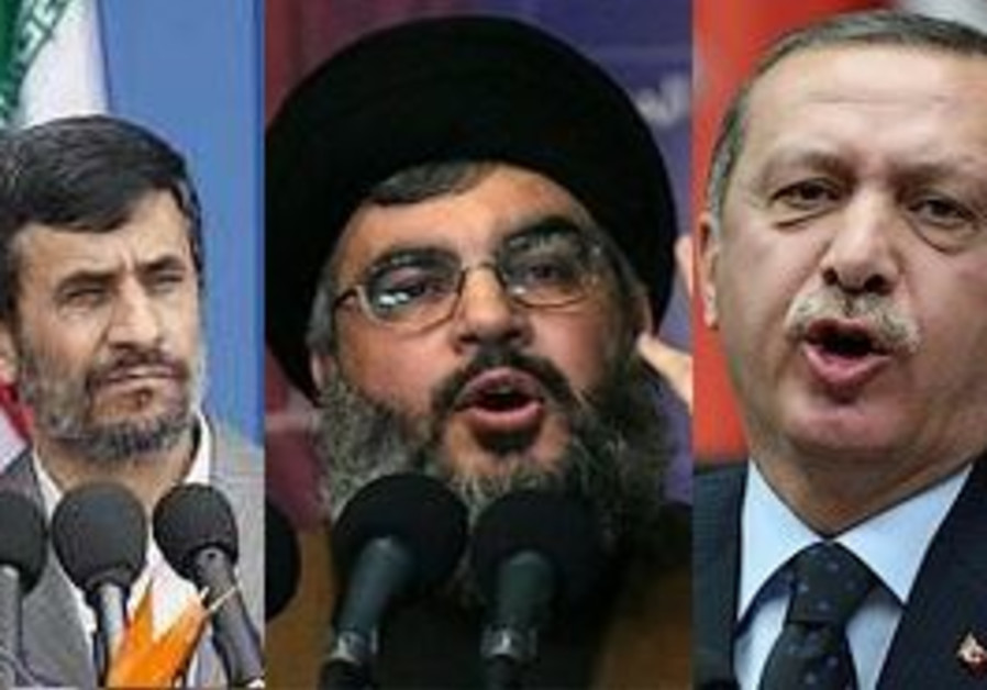 Iranian President Mahmoud Ahmadinejad, Hizbullah leader Nasrallah, Turkish President Erdogan