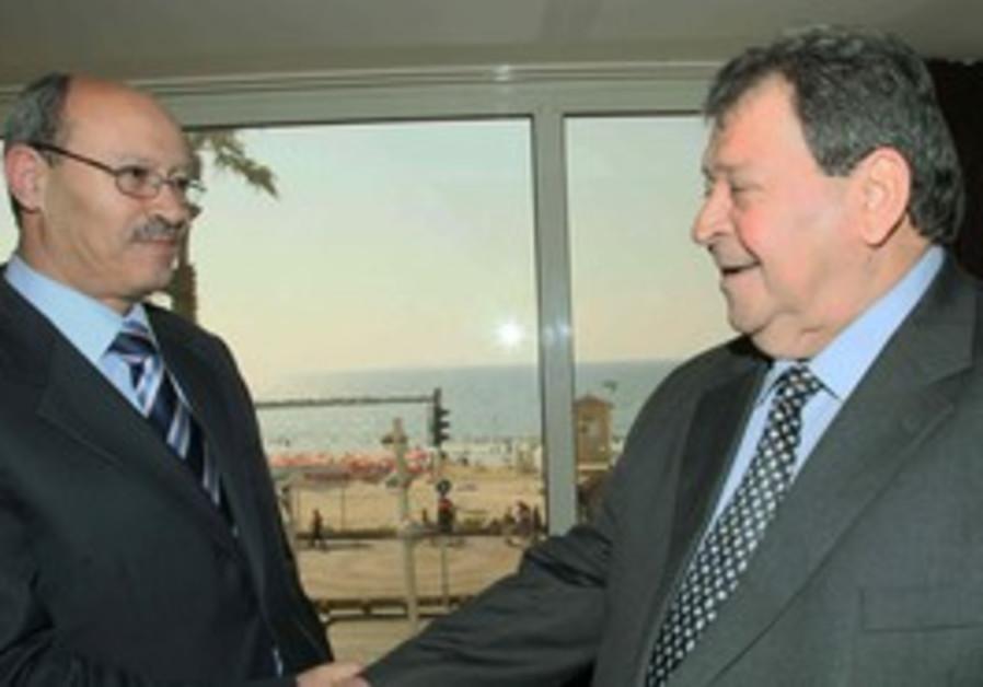 Binyamin Ben Eliezer and Hasan Abu Libda meet in Tel Aviv