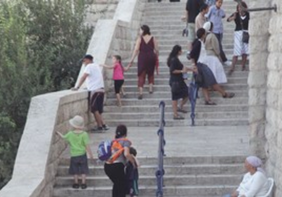 Steps leading to the Western Wall in Jerusalem.