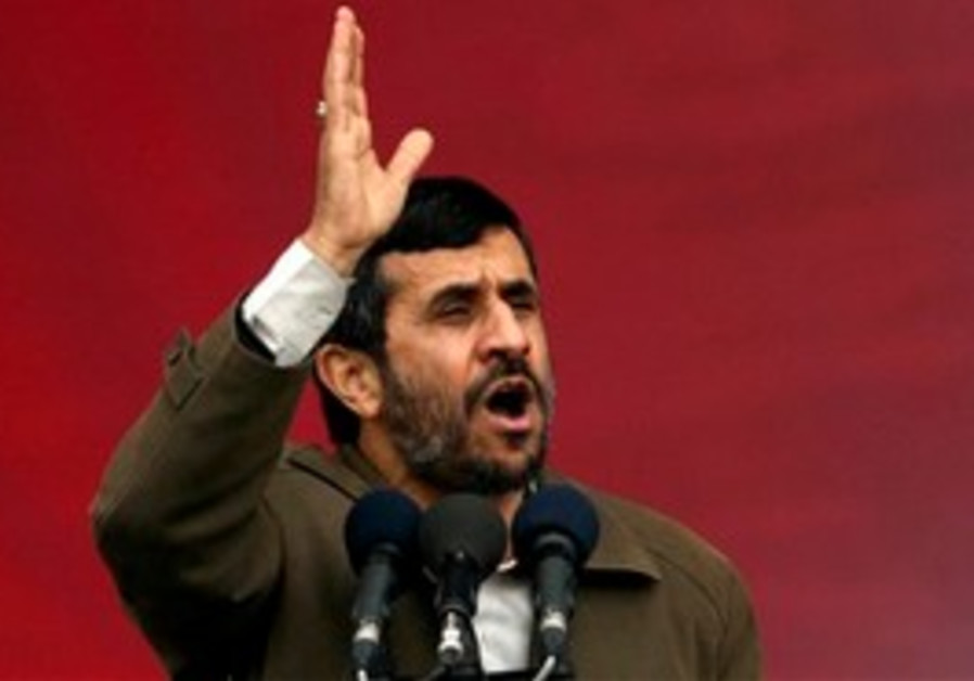 FILE -- In a Feb. 11, 2008 file photo Iranian President Mahmoud Ahmadinejad, speaks during a rally t