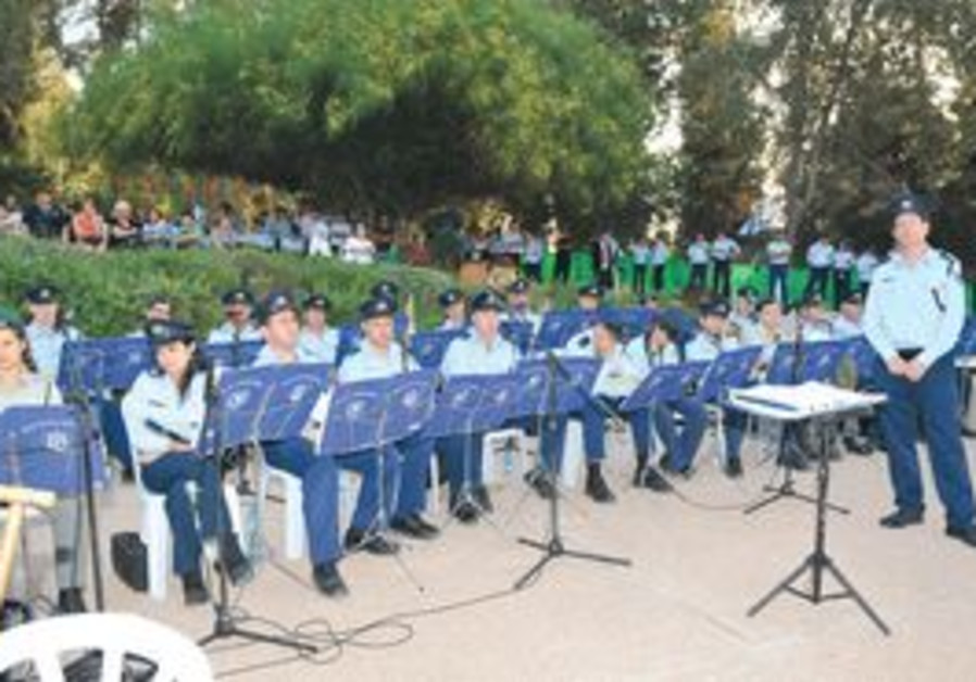Israel Police orchestra practicing.