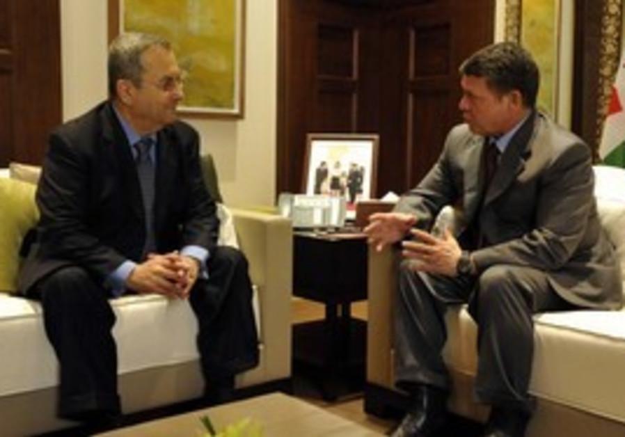 Defense minister Ehud Barak and King Abdullah II of Jordan meet ahead of Washington talks