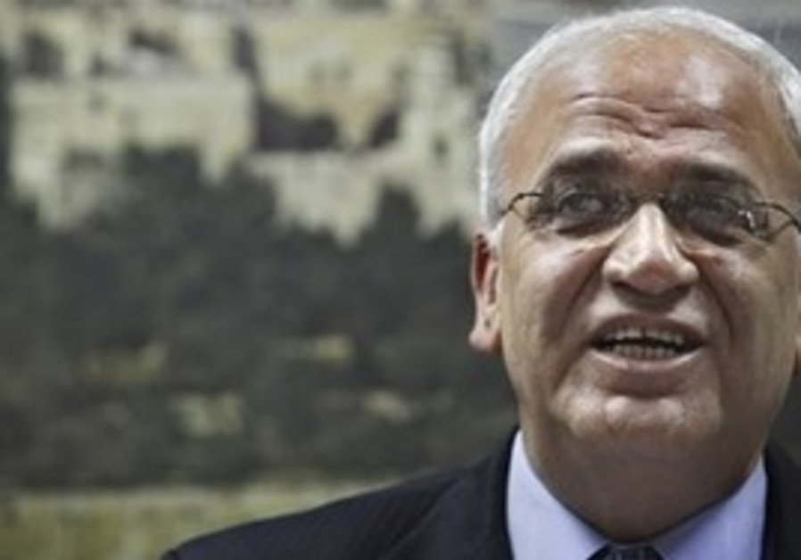 Chief Palestinian negotiator Saeb Erekat gives a press conference in the West Bank city of Ramallah.