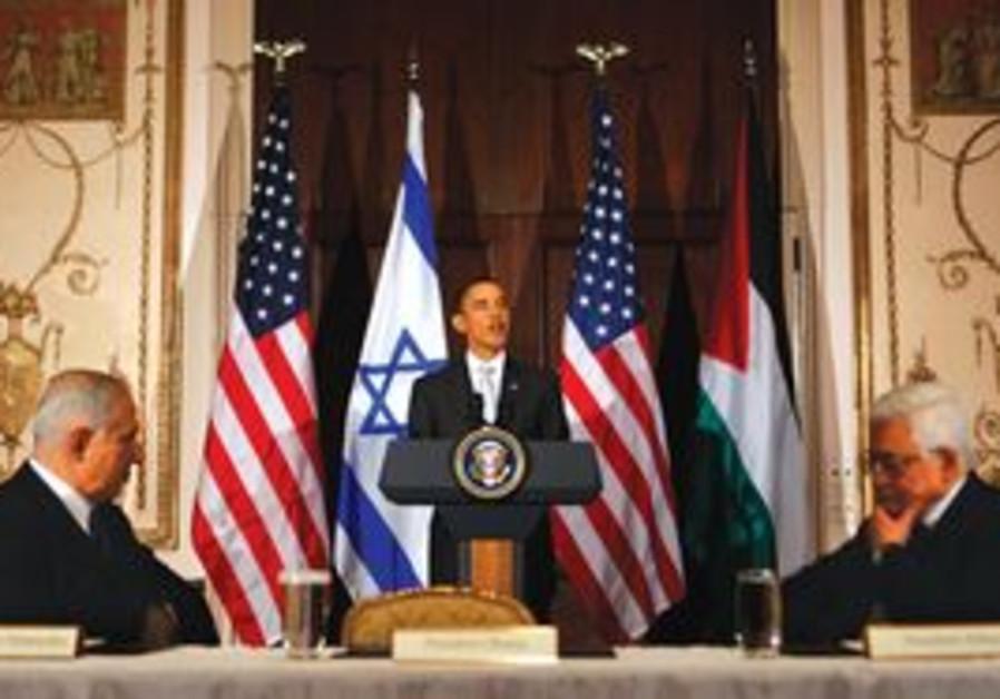 Obama with Netanyahu and Abbas