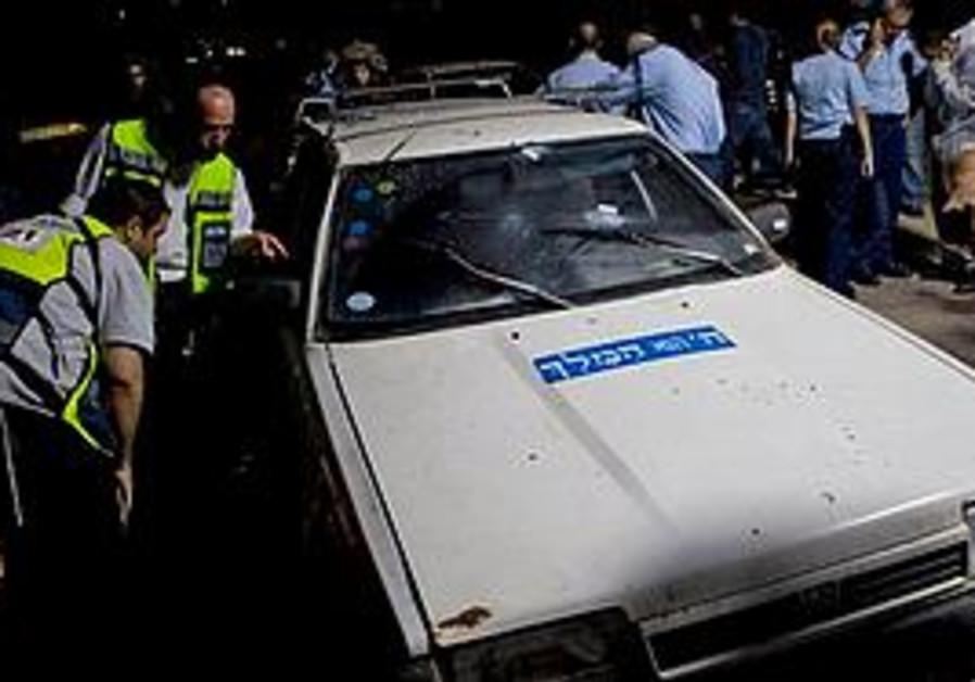 The car shot at by Hamas
