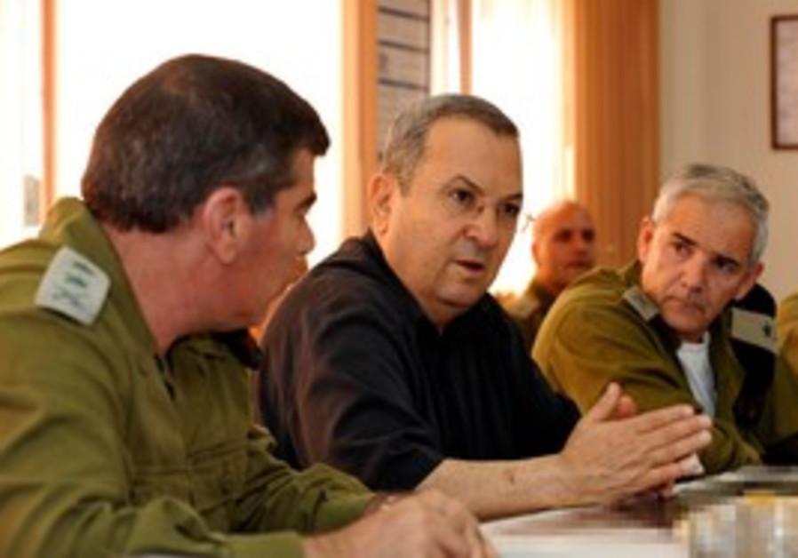 Defense Minister Ehud Barak at OC Central Command.