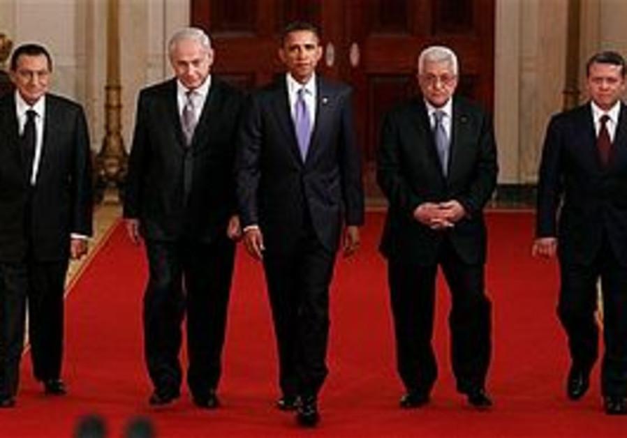 Netanyahu, Obama, Mubarak, Abbas and King Abdullah