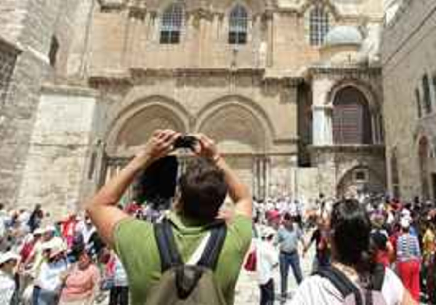Tourists at the church of the holy sepulchre