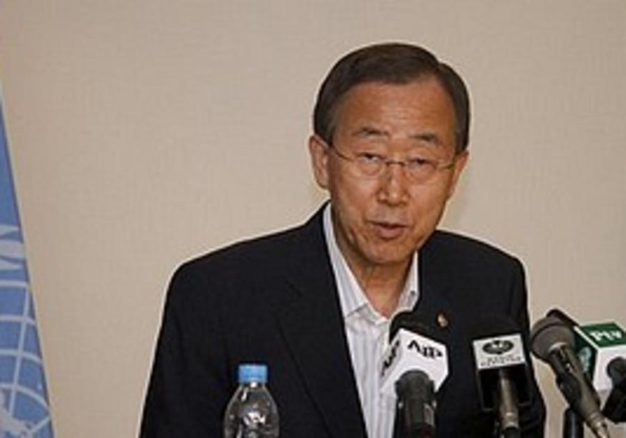 UN Secretary-General Ban Ki-moon speaks to media