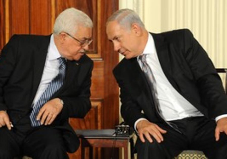 Netanyahu, Clinton, Abbas and Mitchell at dais.