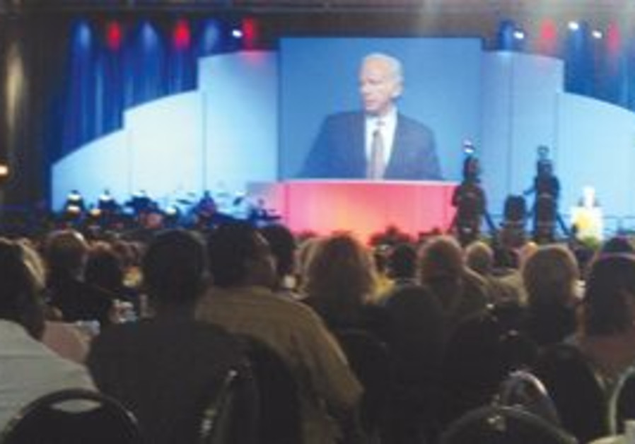 SENATOR JOE LIEBERMAN addresses a recent CUFI gath