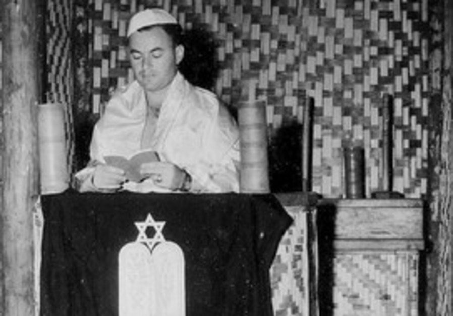 Prayer services held in a cane shul on Guadalcanal
