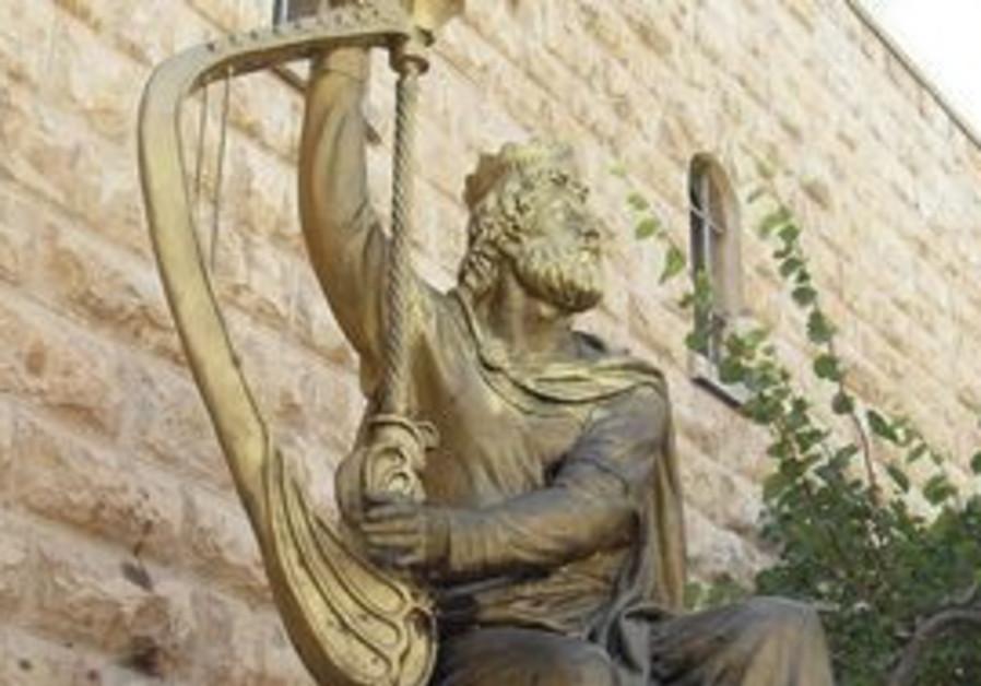 A statue of King David in Jerusalem.