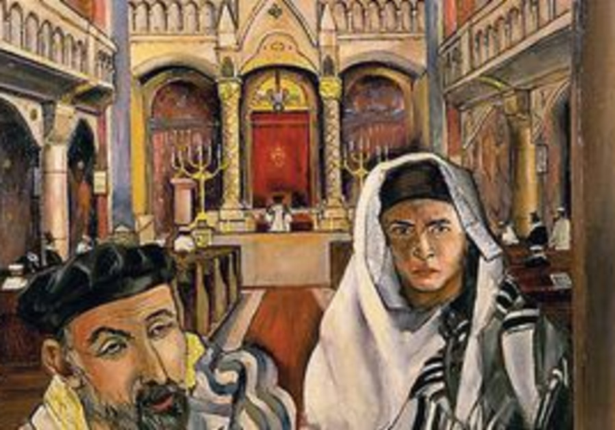 Two Jews praying in a synagogue.