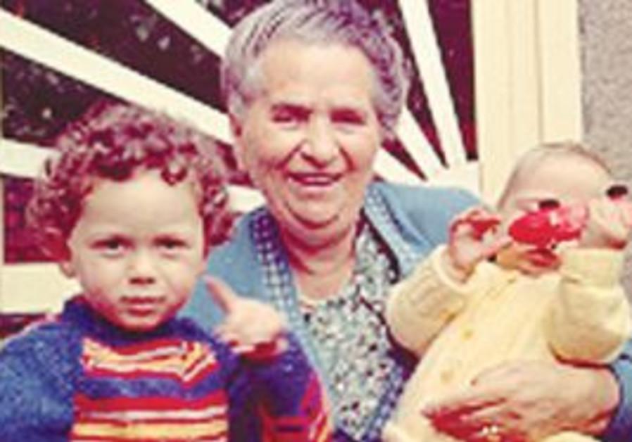 Malka Gaba with great-grandkids, Yonatan and David