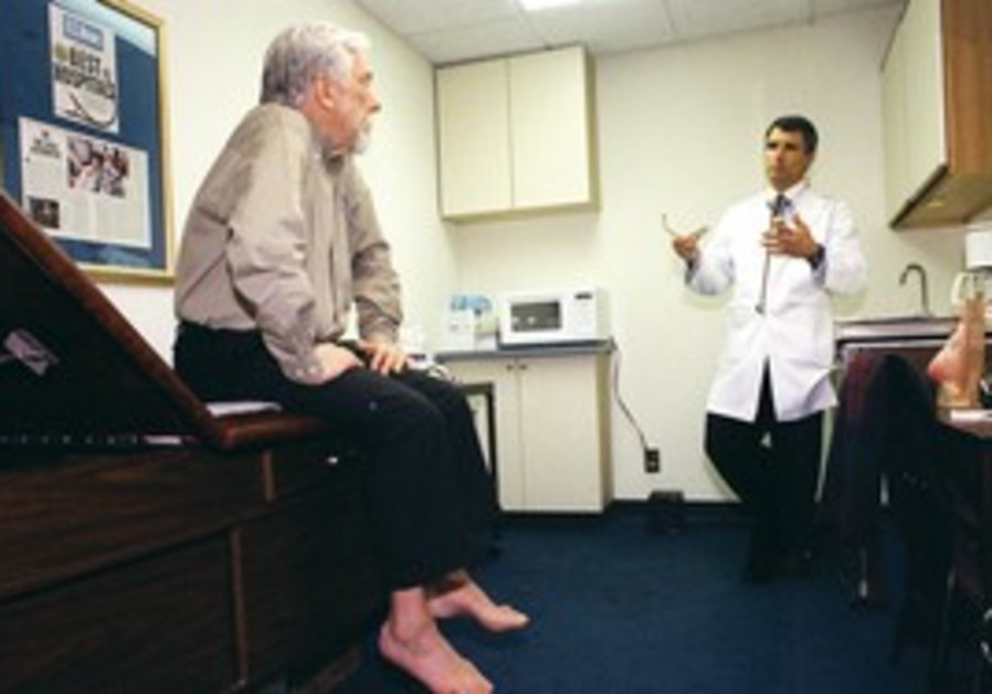 A patient visits hs doctor for a checkup.