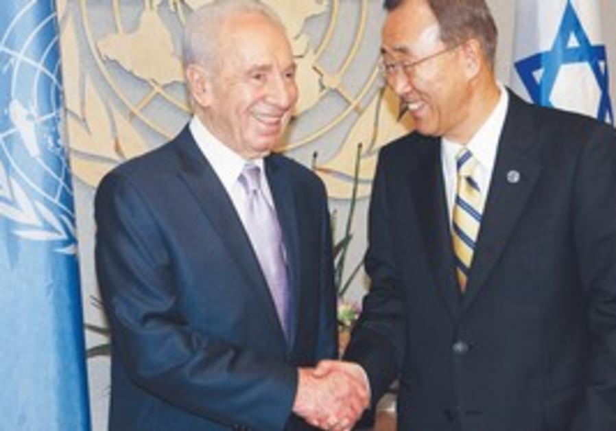 UN SECRETARY-GENERAL Ban Ki-moon greets President