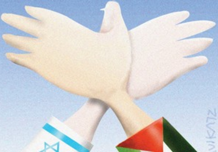 Israeli and Palestinian arms meet to form dove