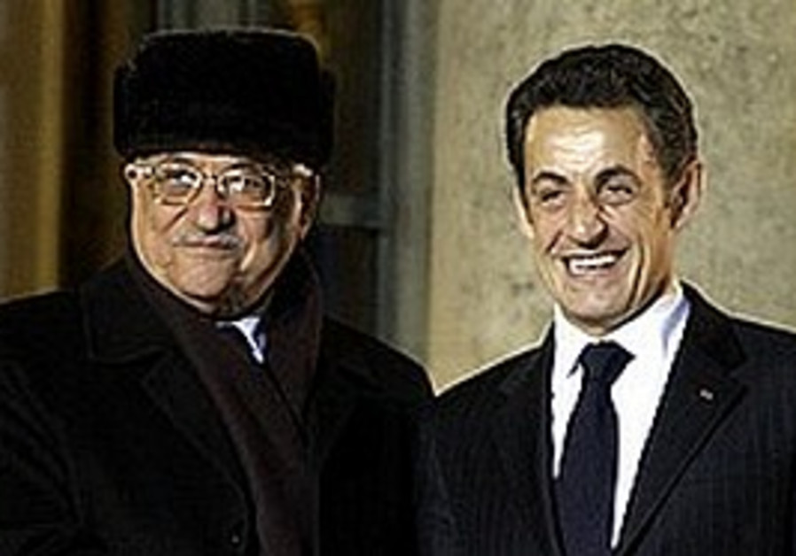 French President Sarkozy and PA President Abbas