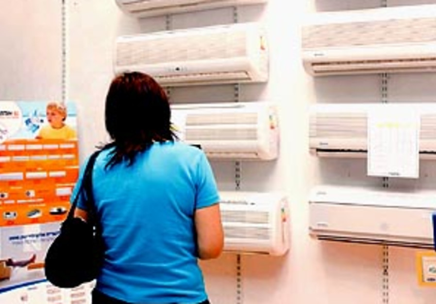 A woman shopping for air conditioners