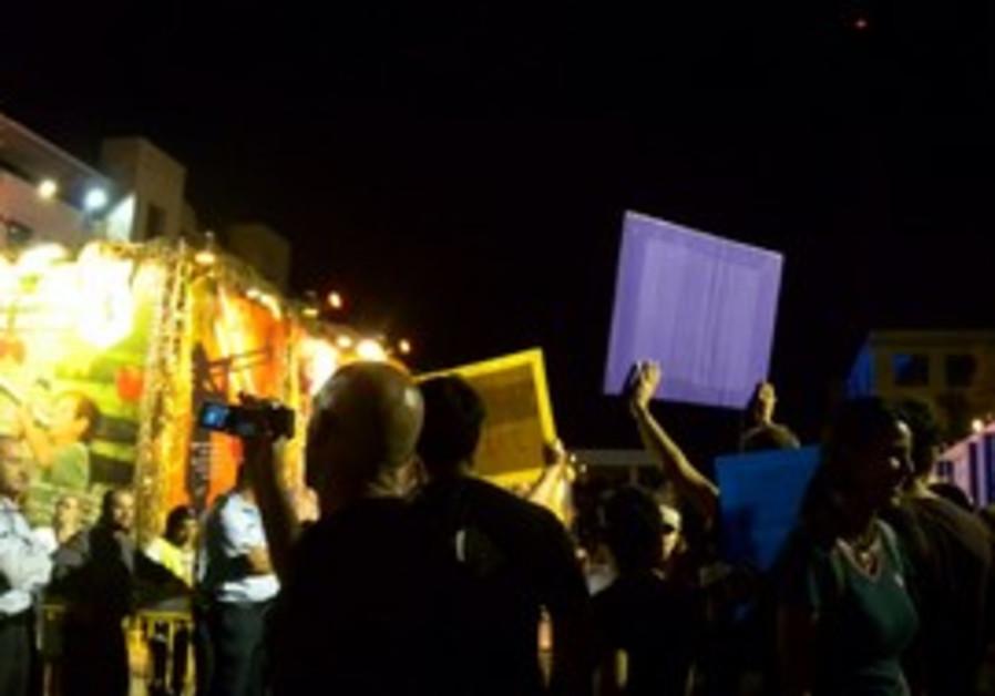 Sheikh Jarrah protesters outside municipal succa