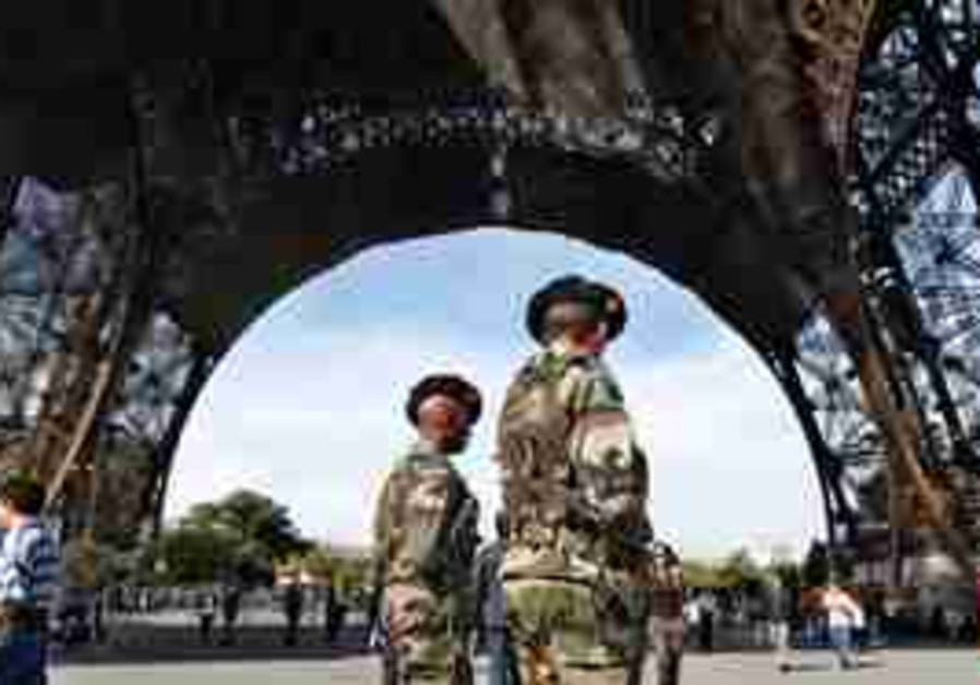 French troops guarding the Eiffel Tower in Paris