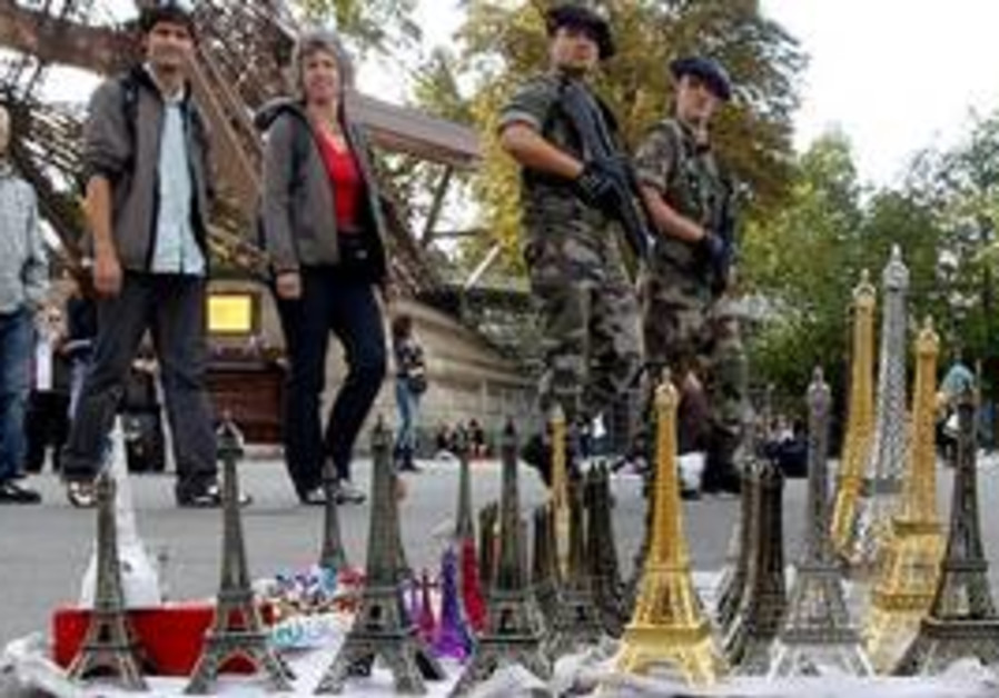 French troops protecting Eiffel Tower souvenirs