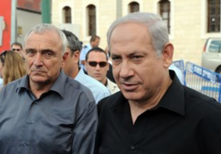 Binyamin Netanyahu and Yitzhak Aharonovitch in Lod